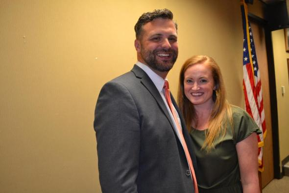 Grant Eloi and his wife Lauren are all smiles after he is selected superintendent of Natchitoches Parish Schools.