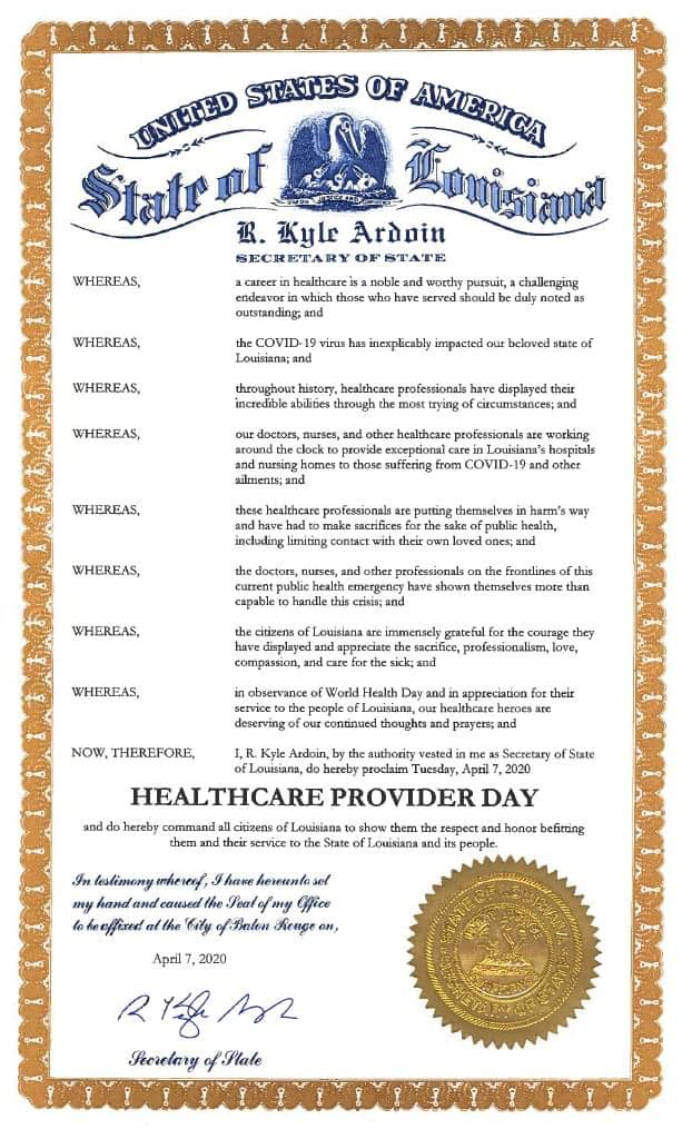 Healthcare Provider Day Proclamation