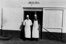 Mess Hall at Camp Polk German POW Camp with 2 German POW's pictured. (Rickey Robertson Collection)