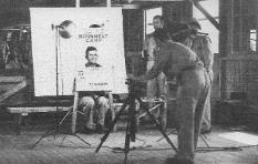 Identification photo being taken of German POW at Camp Polk, La. (Rickey Robertson Collection)